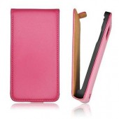 ★★ IPHONE 5 5S ★★ HOUSSE COQUE ETUI FLIP SLIM A CLAPET ASPECT CUIR ROSE PINK