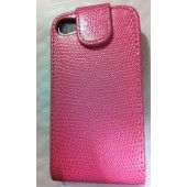 Housse Etui Coque Encastrable Rose ★ IPHONE 4 4S ★ PINK SNAKE CASE FLIP
