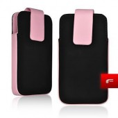 Housse Etui FORCELL Fliper aspect CUIR IPHONE 3G 3GS - ROSE
