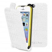 HOUSSE ETUI FLAP CROCO BLANC ★★ MUVIT - MADE IN PARIS ★★ IPHONE 5C
