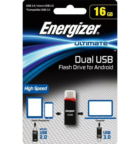 ENERGIZER ULTIMATE 16GB ★ DOUBLE CLE USB ★USB et MICRO USB ★ SAMSUNG WIKO LG...