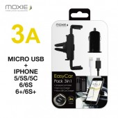 SUPPORT VOITURE UNIVERSEL KIT 3en1 CHARGEUR MICRO USB 3A + CABLE ★★ MOXIE