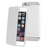 HOUSSE ETUI FOLIO CROCO BLANC ★★ MUVIT  - FABRIQUE A PARIS ★★ IPHONE 6 / 6S