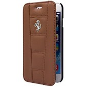 HOUSSE COQUE ETUI FOLIO ★ FERRARI ORIGINAL ★ IPHONE 6 6S ★ CAMEL CUIR VERITABLE