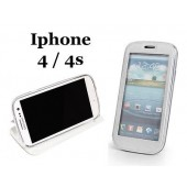 HOUSSE ETUI COQUE ★★ SMART VIEW AVEC FENETRE ★★ IPHONE 4 4S ★★ FOLIO COVER BLANC