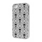 HOUSSE ETUI COQUE PROTECTION ★★ IPHONE 4 4S ★★ TETE DE MORT BACK CASE- BLANC